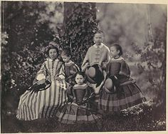 [Seated Lady in Striped Dress with Four Little Girls]          Franz Antoine (Austrian, 1814–1882)          Date: 1850s–60s       Medium: Albumen silver print from glass negative    Dimensions: 15.5 x 19.4 cm. (6 1/8 x 7 5/8 in.)    Classification: Photographs    Credit Line: David Hunter McAlpin Fund, 1948    Accession Number: 48.83.26    Metropolitan Museum of Art, New York