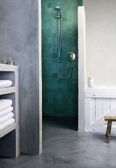 bathroom tiles black white tile and vanity designed by jamie herzlinger glamorous-bathroom interior design love the floor Bathroom design Bathroom Toilets, Bathroom Renos, Bathroom Interior, Modern Bathroom, Design Bathroom, Green Tile Bathrooms, Bathroom Ideas, Neutral Bathroom, Bathroom Remodeling