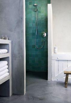 Wat een mooi tegel voor in de badkamer en dat icm betonlook!