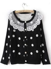 Black Long Sleeve Lace Lapel Pockets Cardigan Sweater $31.36