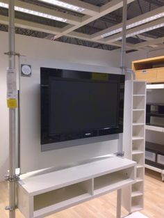 Stolmen Ikea as room divider Ikea Book, Ikea Tv, Stolmen Ikea, Fireplace Tv Stand, Tv Furniture, Flat Panel Tv, Mounted Tv, Industrial House, Home And Living