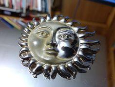 Vintage TAXCO D Molina 925 Sterling Silver Sun / Moon Brooch Mexico TM-90