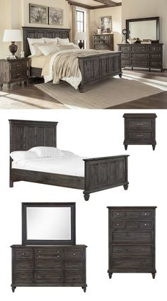 Inspired by the Inns and Wineries in the Napa Valley, the Calistoga Bedroom Collection exudes the ambiance of the region. Its distressed charcoal finishes and brushed pewter hardware mix effortlessly with graceful curves and soft details to create a look that is bold yet refreshing. The Calistoga Bedroom Collection is a great choice if you are looking for a farmhouse style bedroom set to enhance your home furniture. #shopgahs #bedroom #masterbedroom #guestroom #bed #dresser #chest #nightstand