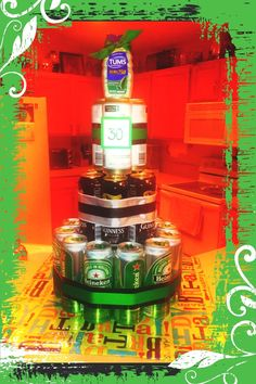 Guy gift idea - 30th birthday favorite beer cake.   Layers of beer: bottom 12, middle 7, top 3.   Used black duct tape and green ribbon on bottom and top tier. Put an upside down tupperware bowl with a round styrofoam platform on top to prop up second tier. Get glue sticky dots to secure cans together.   Bottom platform is a piece of cardboard wrapped with wrapping paper (but a thin piece of wood work better if transporting it)
