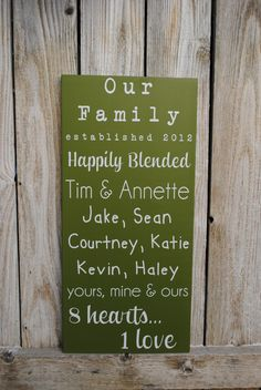 Blended Family Sign Established date sign with family names . Wedding Anniversary Gifts, Wedding Gifts, Our Wedding, Dream Wedding, Wedding Store, Wedding Bells, Fall Wedding, Family Quotes, Family Names