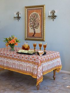 Antiques Temperate Beautiful Vintage Embroidered Cotton Tablecloth 36ins X 39 Ins. Embroidery