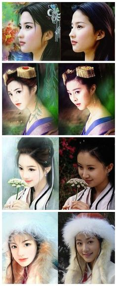 chinese art 画里走出的美女 - 'painting out beauty'
