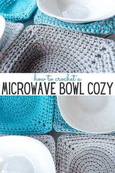 Need a quick & easy microwave bowl cozy crochet pattern? Soon you'll be enjoying your microwaved bowl of soup, chili, or hot cereal in style! #WeCJuly21 #sponsored Crochet Hot Pads, Crochet Cup Cozy, Crochet Bowl, Easy Crochet, Quick Crochet Gifts, Crochet Things, Crochet Potholders, Dishcloth Crochet, Crochet Baskets