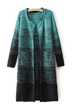 Green Gradient Long Sleeves Cardigan Sweater