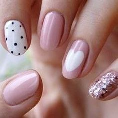 Oval + Dusty Pink + White Heart + Dots + Pink Glitters