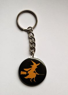 $2.00 SALE ITEM!  Witch riding a broom Keychain | #Halloween #etsy #witches #gifts
