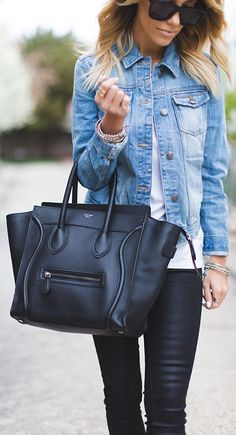 Liquid leggings, white tee, light wash jean jacket and oversized black tote.