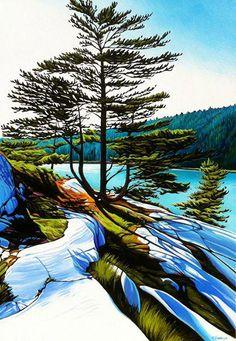 Margarethe Vanderpas - Fine Artist - Killarney Ontario -- She has amazing Lake Superior art on this site. Watercolor Landscape, Landscape Art, Landscape Paintings, Watercolor Art, Painting Abstract, Landscapes, Polychromos, Canadian Artists, Acrylic Art