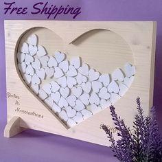 Libro degli ospiti guestbook di nozze in legno massello di abete con personalizzazione sposi e data (Cod. MAT005)