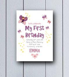 Invitación de cuento de hadas ideal para el primer cumpleaños de las pequeñas princesas, nacimientos,cumpleaños infantiles, primer cumpleaños.    Es