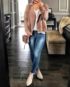 """2,742 Likes, 87 Comments - Jenn (@mrscasual) on Instagram: """"I definitely have a thing for Moto jackets especially this jersey one 🤗 and these new jeans are my…"""""""