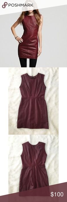 AQUA Leather Dress Gorgeous oxblood REAL leather dress by AQUA. This dress is fitted and incredibly flattering! It's also in fantastic condition 😄. You will love it! I'm a size 6 and it fits me perfectly 👌 PLEASE no low offers. Again, this is real leather and in perfect condition. Aqua Dresses Mini