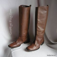 Vintage STOVEPIPE  Riding Boots / size 8 Eu 38.5 Uk 5.5 / Leather Chestnut Brown / Slouch Stack Flat Heel by GoodEye on Etsy