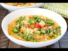 Change up your boring dinner routine with this Spicy Thai Chicken Noodle Soup! An easy recipe that comes together quickly! --- PIN THIS RECIPE --...