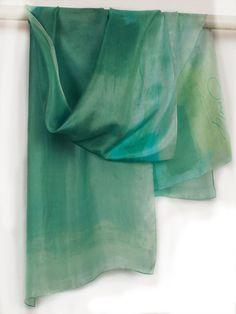 Minty handpainted scarf. Hand painted scarves. Long by klaradar, €45.00