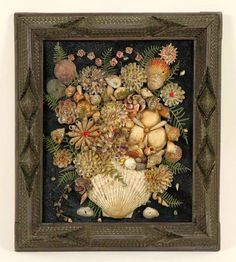 Victorian shell assemblage in folk / tramp art frame.