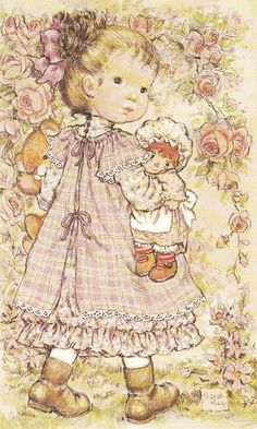 Sarah Kay Collezione Intercards No. Sarah Key, Holly Hobbie, Cute Images, Pretty Pictures, Sarah Kay Imagenes, String Art Patterns, Dibujos Cute, Vintage Drawing, Whimsical Art