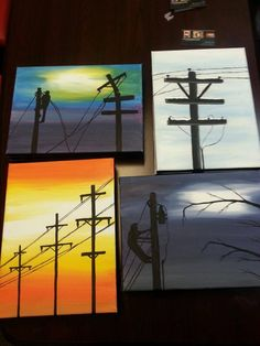 Lineman paintings Small Canvas Paintings, Mini Canvas Art, Cool Paintings, Painting Canvas, Painted Wood Signs, Cute Art, Art Inspo, Art Lessons, Painting & Drawing