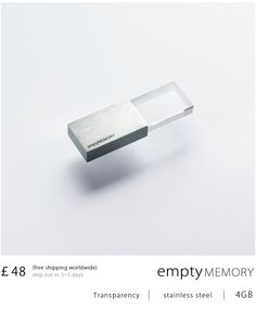 Designer Pocket Drives: >>Empty Memory<< actual product by Yookyung Shin & Hanhsi Chen @elias Kristoffersen Art, London 2012-01 • USB jewelry on collision of tech & craftsmanship ; ) / 4GB £48 in stainless steel: transparency  • 44-7972869191 • li-nung@logical-art.co.uk