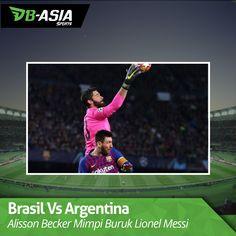 Duel Brasil dengan Argentina kembali mempertemukan Alisson Becker dengan Lionel Messi. La Pulga berhadapan dengan mimpi buruknya. Lionel Messi, Formula 1, Sports, Fleas, Argentina, Hs Sports, Sport