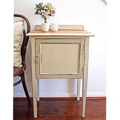 #forsale Lovely long legged Silky Oak side table in Old Ochre with Country Grey detail #anniesloanchalkpaint {$185} #etsy #brisbane #qld #antiques #womenwhodiy #queensland #furniturerestoration #furniture #paintedfurniture #ascp