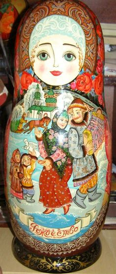 "Matryoshka - Russian nesting doll. It is written ""Christmas"" at the bottom -wow!"