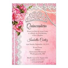 Quinceanera pink 15th birthday party invitation quinceanera quinceanera 15th birthday party pink roses tiara card filmwisefo