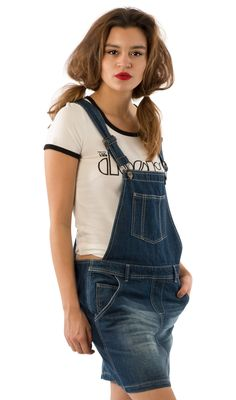 67d5564b5f93 USKEES CLAIRE Short Denim Dungaree Dress - Darkwash. #Uskees #overalldress  #cute #LoveUS