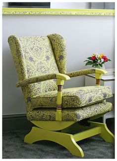How to add contemporary zing to an old Parker Knoll style rocking chair Parker Knoll Chair, Knoll Chairs, Romo Fabrics, Retro Living Rooms, Furniture Restoration, Front Doors, Wingback Chair, Rocking Chair, Porches