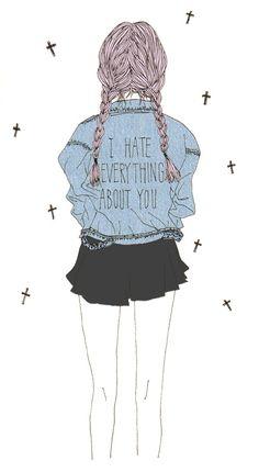 Imagen vía We Heart It #art #braid #denim #fashion #girl #grunge #hate #hipster…