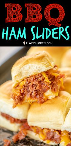 BBQ Ham Sliders on Hawaiian Rolls BBQ Ham Sliders – ham cooked in a quick homemade cola bbq sauce and… Ham Sliders, Slider Sandwiches, Italian Sandwiches, Pork Recipes, Chicken Recipes, Cooking Recipes, Sandwich Recipes, Cooking Ideas, Quick Easy Meals