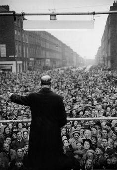 Magnum Photos - Henri Cartier-Bresson // IRELAND. Munster. Limerick. 1952. President DE VALERA campaining.