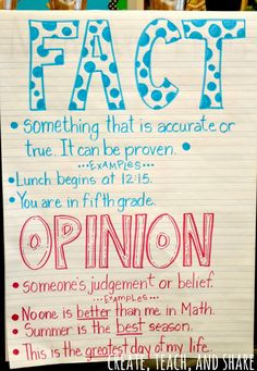 Fact and Opinion Anchor Chart... and a blog post about Squeezing in Test Prep