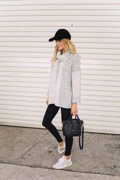 cute sneaker outfit, leggings outfit, womens fall fashion, fall sweater outfit #fallfashion