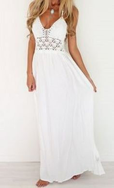 So Gorgeous! Love the Lace! Sexy White Lace Crochet Halter Hollow Out Spliced Maxi Dress