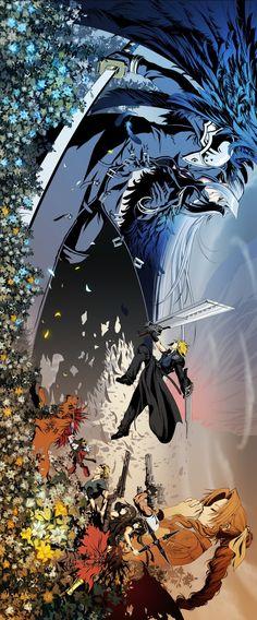 Final Fantasy VII Advent Children Complete by diamond dust on pixiv Final Fantasy Cloud, Final Fantasy Characters, Final Fantasy Artwork, Final Fantasy Vii Remake, Fantasy Series, Final Fantasy Xv Wallpapers, Fantasy Wolf, Fantasy Map, Fantasy Dress