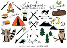 Check out Adventure & Camping Illustration Set by Lemonade Pixel on Creative Market Camping Snacks, Vw Camping, Camping Theme, Family Camping, Camping Signs, Camping Style, Winter Camping, Outdoor Camping, Camping Illustration