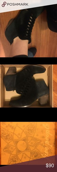 Size 39 Euro Loveland Free People black booties! Brand new in box Free People ankle booties! The only reason I am selling is because they are a size too large. Super cute and awesome price! Free People Shoes Ankle Boots & Booties