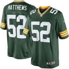 NFL Jersey's Men's Green Bay Packers Clay Matthews Nike Green Team Color Limited Jersey