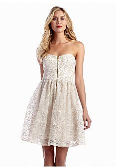 Betsey Johnson Strapless Fit-and-Flare Dress with Sequin