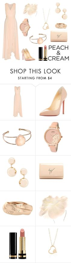 """""""Peach Bloom"""" by toddverbose ❤ liked on Polyvore featuring Badgley Mischka, Christian Louboutin, Limit, Forever 21, Giuseppe Zanotti, StyleRocks, Johnny Loves Rosie, Gucci and peachlipstick"""