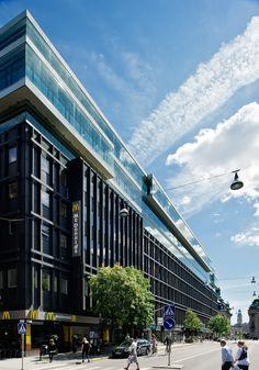 Kvarteret Jakob Större, Stockholm. Glasfasad Schüco, tillverkat av Fasadglas. White Arkitekter. Foto: Magnus Östh