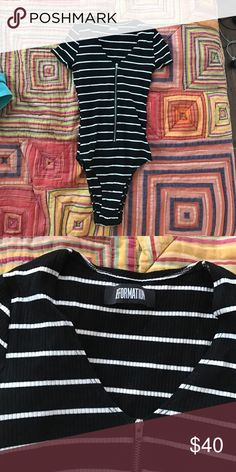 Reformation striped bodysuit Never been worn reformation zip bodysuit Reformation Tops Muscle Tees