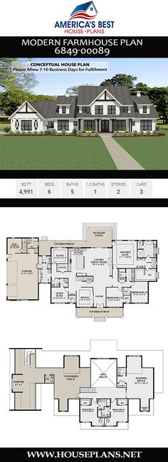 Need a guest suite in your next home? Consider Plan a marvelous Modern Farmhouse plan with 4991 sq. 6 bedrooms 5 bathrooms a bonus room a guest room a mudroom a study and 3 car garage. to view more Modern Farmhouse plans. Floor Plans 2 Story, House Plans 2 Story, Best House Plans, Dream House Plans, Modern House Plans, Dream Houses, Farm Houses, Home Floor Plans, Home Plans