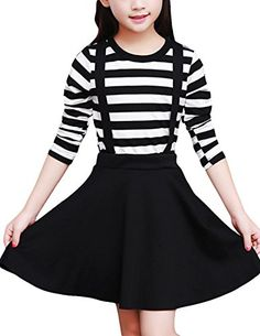 MFrannie Girl Casual Stripe Slim Tee and Overall Skirt Two Pieces Set 89T >>> Check this awesome product by going to the link at the image.